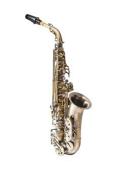 Saksofon na białym tle