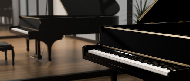 Sala do ćwiczeń fortepianu ze szklaną ścianą fortepian instrument akustyczny klasyczny fortepian