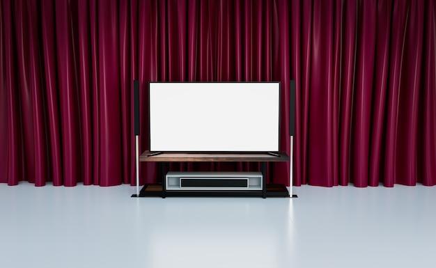 Sala kina domowego z czerwonymi zasłonami, renderowanie ilustracji 3d