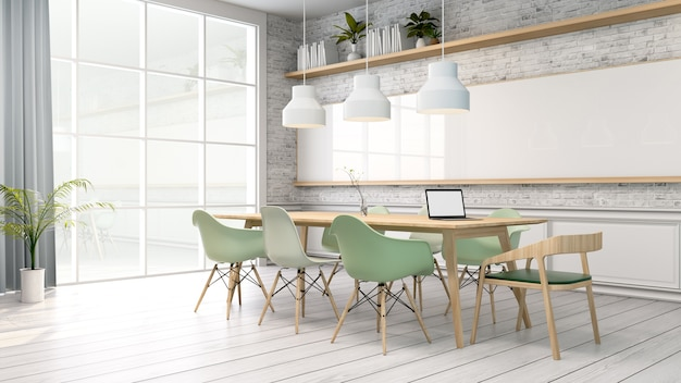 Sala konferencyjna, biały pokój z zielonym krzesłem i drewnianym stołem