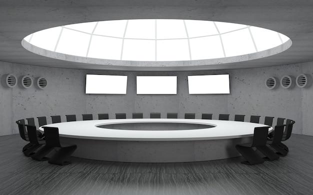 Sala konferencyjna na spotkania z okrągłym kształtem kopuły z dużym stołem