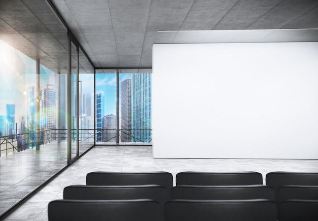 Sala konferencyjna w biurze z widokiem na miasto