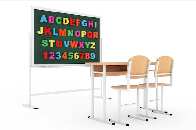 Sala lekcyjna z tablicą i biurkiem na białym tle