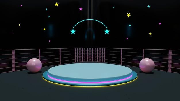Sala wystawowa z ciemnym tłem z oświetloną neonami sceną ozdobioną ściankami rozdzielającymi, kulą i gwiazdą renderowania 3d.