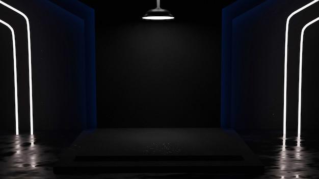 Sala wystawowa z marmurowym tłem z biało-niebieskim neonowym renderowaniem 3d