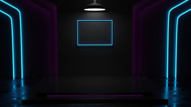 Sala wystawowa z marmurowym tłem z białym, niebieskim i różowym neonowym renderowaniem 3d