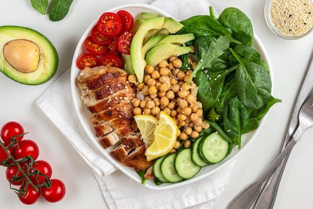 Sałatka dietetyczna z kurczakiem, pomidorem, ogórkiem awokado i szpinakiem