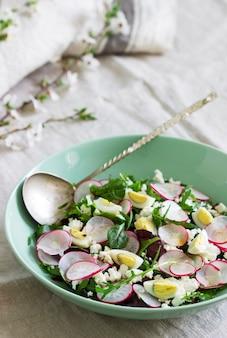Sałatka wegetariańska z ziołami, rzodkiewką, jajkami i twarogiem na jasnym tle.