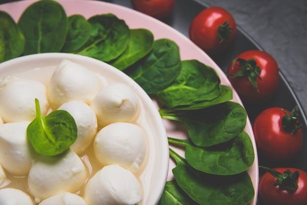Sałatka z mozzarellą i młodym szpinakiem na lekkim talerzu ceramicznym. matowy stonowany.