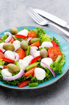 Sałatka ze świeżych warzyw. caprese. sałatka caprese. sałatka włoska. sałatka śródziemnomorska. kuchnia włoska.