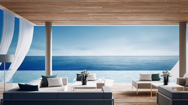 Salon dzienny salon - willa ocean na widok na morze na wakacje i lato / 3d renderowania wnętrza