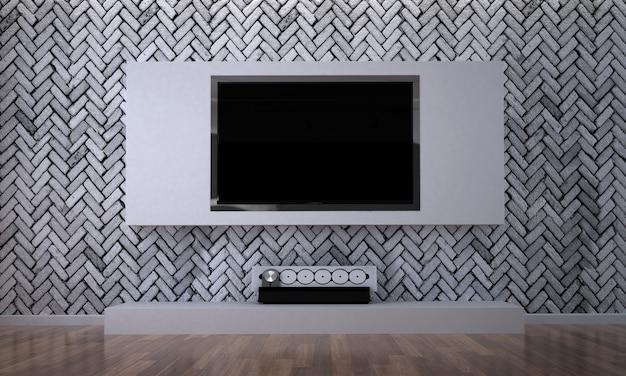 Salon i telewizor led tv konsola ścienna i ceglana ściana w tle