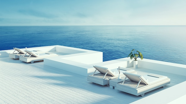 Salon na plaży - willa ocean widok na morze i morze na wakacje i lato / 3d renderowania na zewnątrz