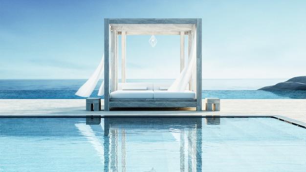Salon na plaży - willa z widokiem na ocean na wakacje i lato