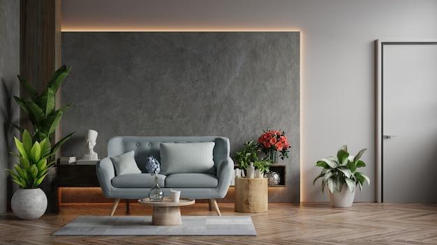 Salon na poddaszu w stylu industrialnym z niebieską sofą na pustej betonowej ścianie, renderowanie 3d
