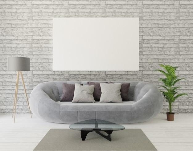 Salon na poddaszu z szarą kanapą, lampą, drzewem, murem, dywanem i ramą do makiety