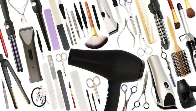 Salon piękności i sklep fryzjerski narzędzia lub sprzęt na białym tle