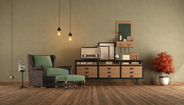 Salon reatro z fotelem i kredensem