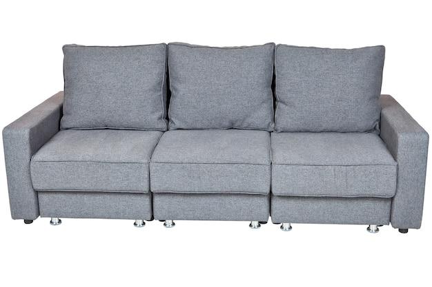 Salon sofy meble, rozkładana sofa futon z tkaniny w kolorze ciemnoszarym, na białym tle, obejmują ścieżkę przycinającą.