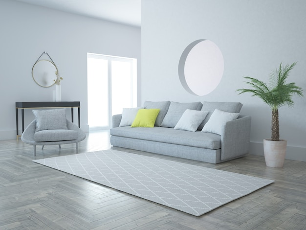 Salon typu open space z otworem w ścianie i wygodną sofą