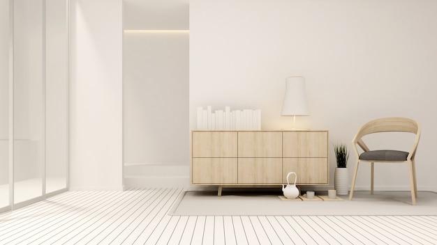 Salon w białym tonie w domu lub mieszkaniu