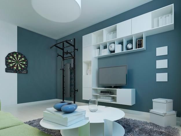 Salon w nowoczesnym stylu. pokój z białymi meblami i ciemnoniebieskimi ścianami. drążki i rzutki dla szczególnie aktywnych. renderowania 3d