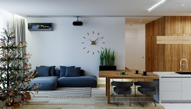 Salon w nowoczesnym stylu z choinką