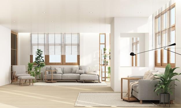 Salon w nowoczesnym, współczesnym stylu z drewnianą ramą okienną i przezroczystym szarym odcieniem mebli, rendering 3d