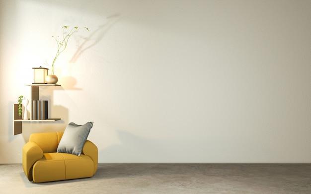 Salon w stylu japońskim z drewnianym stołem, lampami i fotelem na betonowej podłodze.