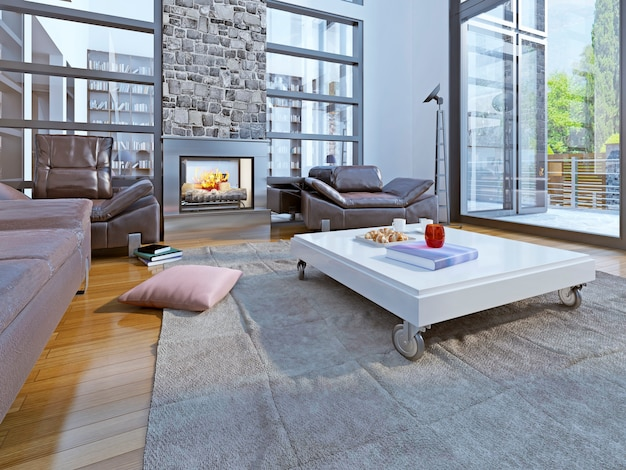 Salon w stylu loftu