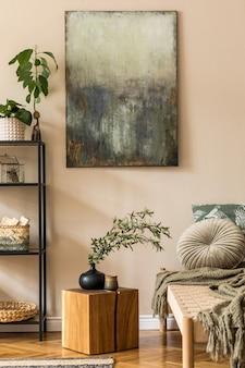 Salon w stylu orientalnym z nowoczesnym szezlongiem, półką, drewnianą kostką, poduszką, pledem, kwiatami i eleganckimi dodatkami osobistymi.