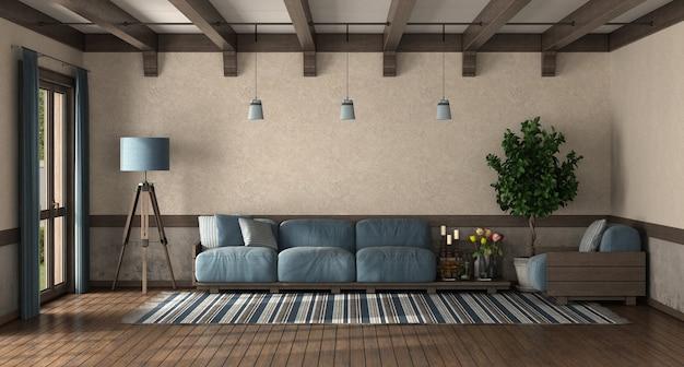 Salon w stylu retro z drewnianą sofą z niebieską poduszką - renderowanie 3d