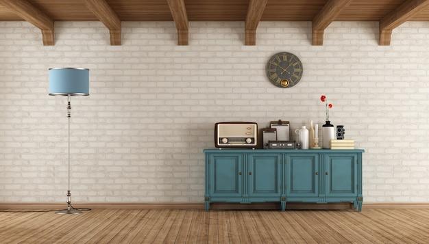 Salon w stylu retro z klasycznym kredensem