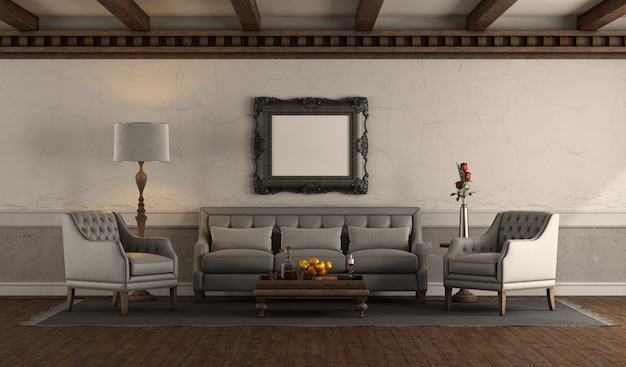 Salon w stylu retro z szarą sofą i fotelem