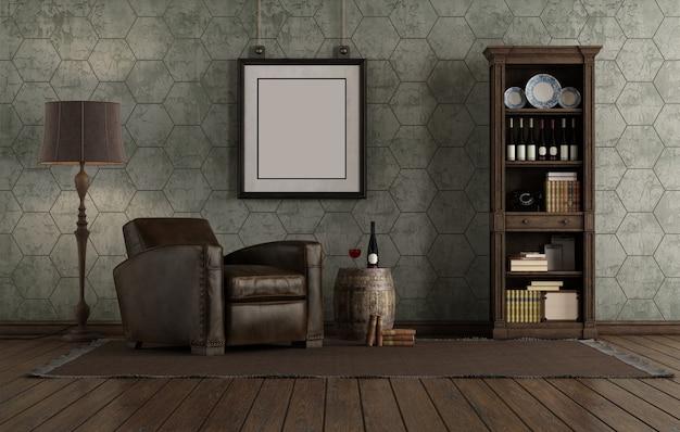 Salon w stylu retro ze skórzanym fotelem i regałem przy starej ścianie - renderowania 3d