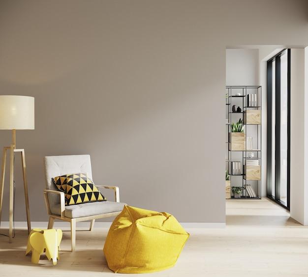 Salon w stylu skandynawskim z krzesłem i jagnięciną oraz wystrojem