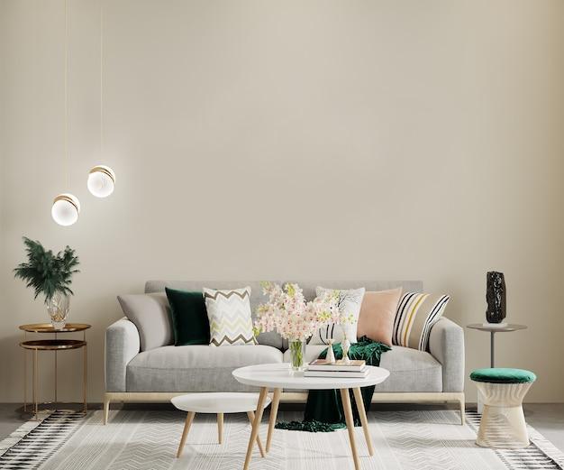 Salon w stylu skandynawskim z meblami i stolikiem kawowym, renderowanie 3d, makieta wnętrza, makieta ścienna, makieta ramy
