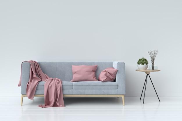 Salon z aksamitną sofą na tle pustej białej ścianie