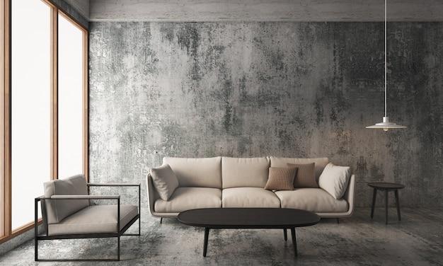 Salon z betonową ścianą i podłogą, aranżacja wnętrza loftu. renderowanie 3d