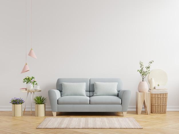 Salon z białymi ścianami ma sofę i dekoracje, renderowanie 3d