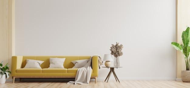 Salon z białymi ścianami ma żółtą sofę i dekoracje, renderowanie 3d