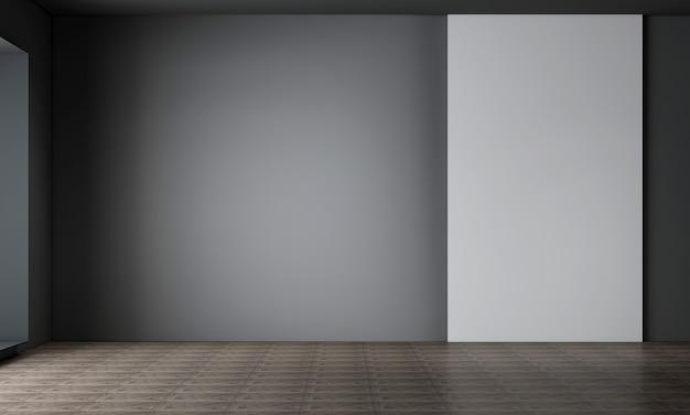 Salon z czarną ścianą ma pustą ramę i dekorację płótna, makietę wnętrza, renderowanie 3d