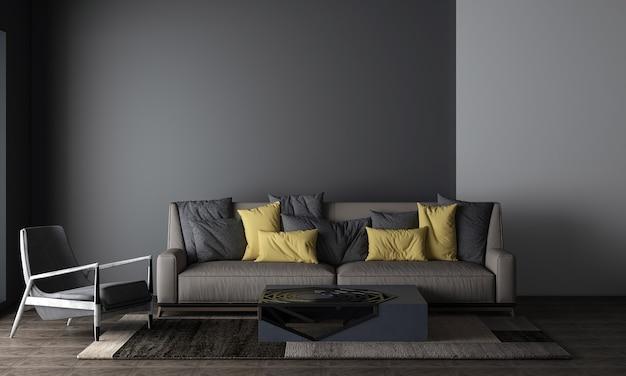 Salon z czarną ścianą ma sofę i dekoracje, makiety wnętrza, renderowanie 3d