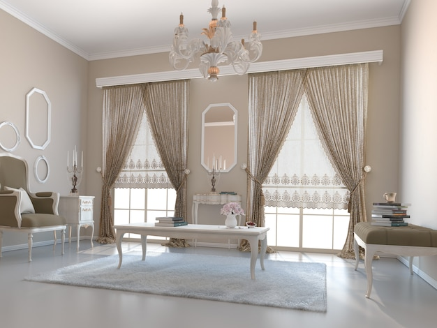 Salon z dekoracją