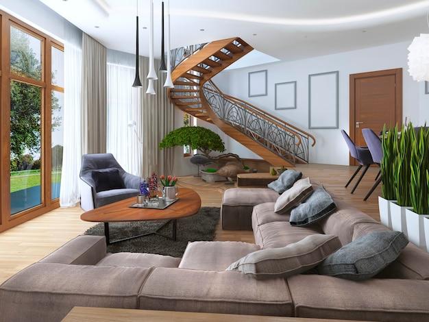 Salon z dużym narożnikiem z tkaniny w stylu współczesnym ze spiralnymi schodami prowadzącymi na piętro oraz miękkim fotelem z nowoczesną lampą podłogową.