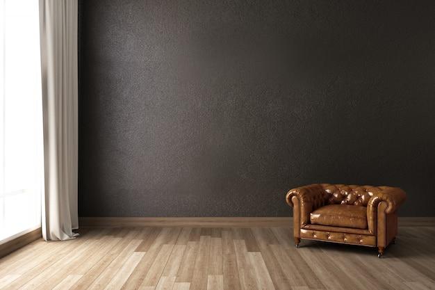 Salon z fotelem i szarą ścianą. renderowanie 3d