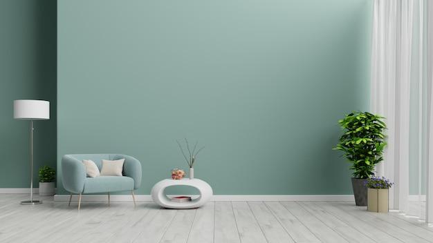 Salon z fotelem i zielonym tłem.