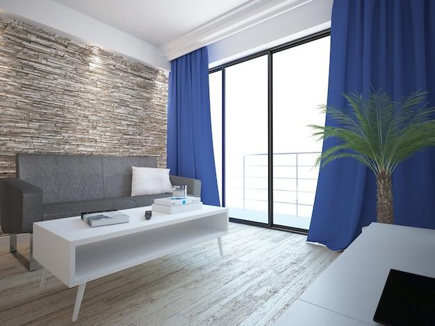 Salon z kamienną ścianą i zasłonami