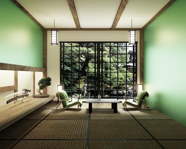 Salon z lampą mieczową ze stołem katana i drzewkiem bonsai