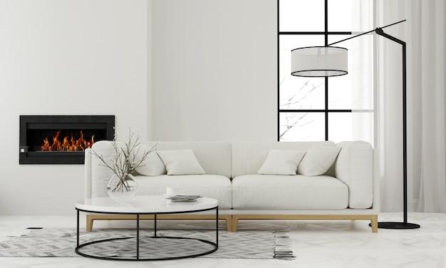 Salon z minimalistycznym kominkiem